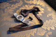 Łęku krawat i cufflinks Zdjęcie Royalty Free