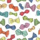 Łęku krawata bezszwowy wzór Śmieszny wektor Obrazy Royalty Free