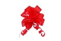 łęku prezent izolujący czerwonej taśmy biel Fotografia Royalty Free