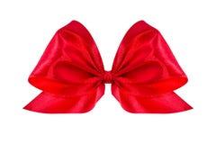 łęku prezenta czerwieni atłas wstęga Odizolowywający na bielu Obrazy Royalty Free