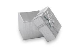 łęku pudełkowaty dekorujący biżuterii faborku srebro Zdjęcia Stock
