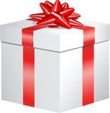 łęku pudełkowaty prezenta czerwieni faborek ilustracji