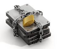 łańcuchów pojęcia konwencjonalny odbitkowy dane projektów przyrządu hdd blokujący kłódki dobro zabezpieczać zawijającą ochrony pr royalty ilustracja