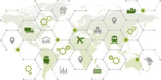 Łańcuchu dostaw zarządzanie wysyłka, handel & logistyki -: ilustracja royalty ilustracja