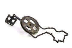 Łańcuchu i bicyklu następ odizolowywający na białym tle Zdjęcie Stock