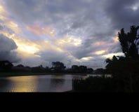 łańcuchu pokryw horyzontalnych Illinois jeziornych jezior lekka o pomarańczowa fotografii nieba zmierzchu powierzchnia usa Zdjęcie Royalty Free