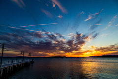 łańcuchu pokryw horyzontalnych Illinois jeziornych jezior lekka o pomarańczowa fotografii nieba zmierzchu powierzchnia usa Obrazy Stock