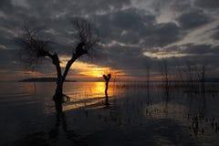 łańcuchu pokryw horyzontalnych Illinois jeziornych jezior lekka o pomarańczowa fotografii nieba zmierzchu powierzchnia usa Zdjęcia Royalty Free