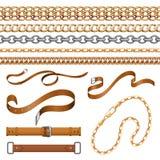 Łańcuchy i warkocze Bransoletka rzemienni paski i złoci meblarscy elementy, ornamentacyjny jewellery set Wektorowa tkanina i royalty ilustracja