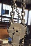 Łańcuchy, pulleys Fotografia Royalty Free