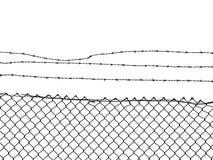 Łańcuszkowego połączenia ogrodzenie nakrywający z drutem kolczastym Obrazy Stock