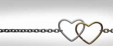 łańcuszkowi serca dwa Zdjęcie Stock