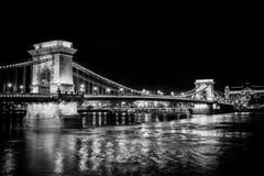 Łańcuszkowy most, Budapest, czarny i biały Zdjęcie Stock