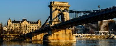 Łańcuszkowy most na Danube rzece Obraz Stock