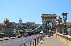 Łańcuszkowy most na Danube rzece w Budapest Fotografia Stock
