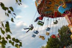 Łańcuszkowy rondo w miasto parku Cheboksary, Rosja, 08/19/2018 fotografia royalty free