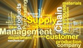 łańcuszkowy rozjarzony zarządzania dostawy wordcloud Zdjęcie Stock