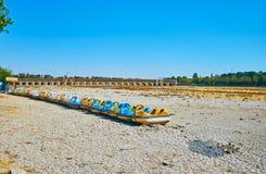 Łabędzi catamarans w Zayandeh rzece, Isfahan, Iran Zdjęcia Royalty Free