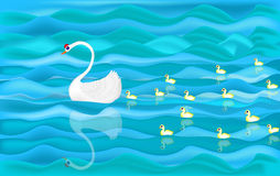 Łabędzi dopłynięcie w jeziorze z jej dzieckiem Zdjęcia Stock