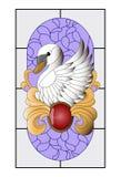 Łabędzi witraż, mozaika wzór z czerwonym breloczkiem, złoto krzywy i purpurowy tło, royalty ilustracja