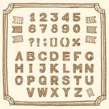 Łaciński abecadło, ręka rysujący pióro atrament Obraz Royalty Free