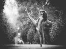 Łaciński tancerz z nogą podnoszącą w drogowy pełnym roślinności monochro Zdjęcie Stock