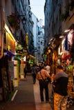 Łaciien kwartalne ulicy w Paryż Zdjęcia Stock