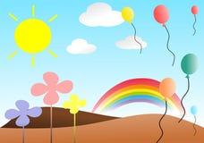 Ładna łąka z balonami royalty ilustracja
