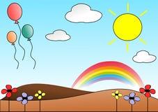 Ładna łąka z balonami ilustracji