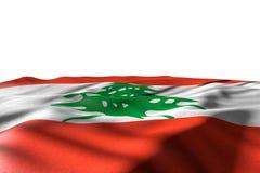 Ładna świętowanie flagi 3d ilustracja - mockup Liban flagi kłamstwo z perspektywicznym widokiem odizolowywającym na bielu z miejs ilustracji