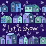 Ładna błękitna zimy karta z domami ustawiającymi Obrazy Stock