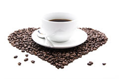 Coffee_cup_beans Fotografia Royalty Free