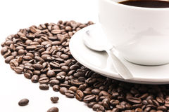 Coffee_cup_beans Obrazy Stock