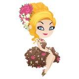 Ładna blondynka w stylowym Podławym szyku Ilustracji