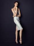 Ładna brunetka jest ubranym srebro suknię na czarnym tle Zdjęcia Royalty Free