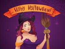 Ładna czarownica Halloween Seksowna dziewczyna z miotłą i kapeluszem Kartka z pozdrowieniami, sieć, faborek, inskrypcja Zdjęcie Stock