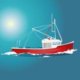 Ładna czerwieni i bielu łódź na błękitnym morzu royalty ilustracja