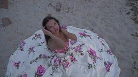 Ładna dama w długiej wieczór sukni zbiory wideo