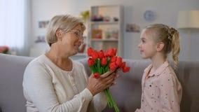 Ładna dziewczyna daje czerwonych tulipany babcia i przytulenie, rodzinna miłość, urodziny zbiory