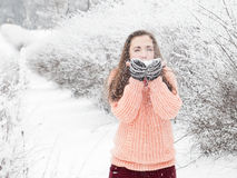 Ładna dziewczyna dmucha śnieg w pulowerze Zdjęcia Stock