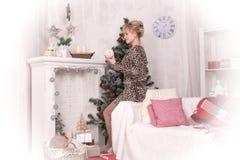 Ładna dziewczyna w bożych narodzeniach i pokoju Fotografia Stock