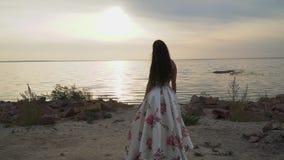 Ładna dziewczyna w długiej pięknej sukni rzeką zdjęcie wideo