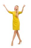 Ładna dziewczyna w kolor żółty sukni odizolowywającej na bielu Zdjęcie Royalty Free