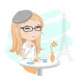 Ładna dziewczyna w Paryż royalty ilustracja