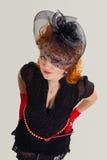 Ładna dziewczyna w retro sukni obraz royalty free