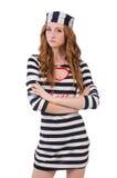 Ładna dziewczyna w więźnia mundurze odizolowywającym na bielu Obraz Royalty Free