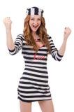Ładna dziewczyna w więźnia mundurze odizolowywającym na bielu Zdjęcie Royalty Free