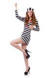 Ładna dziewczyna w więźnia mundurze odizolowywającym na bielu Obraz Stock