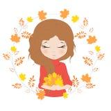 Ładna dziewczyna z bukietem liście ilustracja wektor