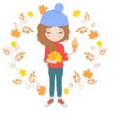 Ładna dziewczyna z bukietem liście ilustracji